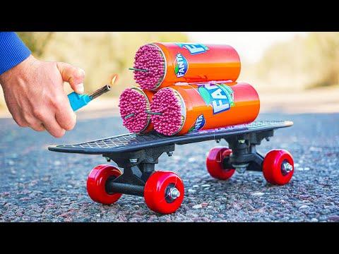 Experiment: Skateboard Powered by Fanta (Turbo Engine)