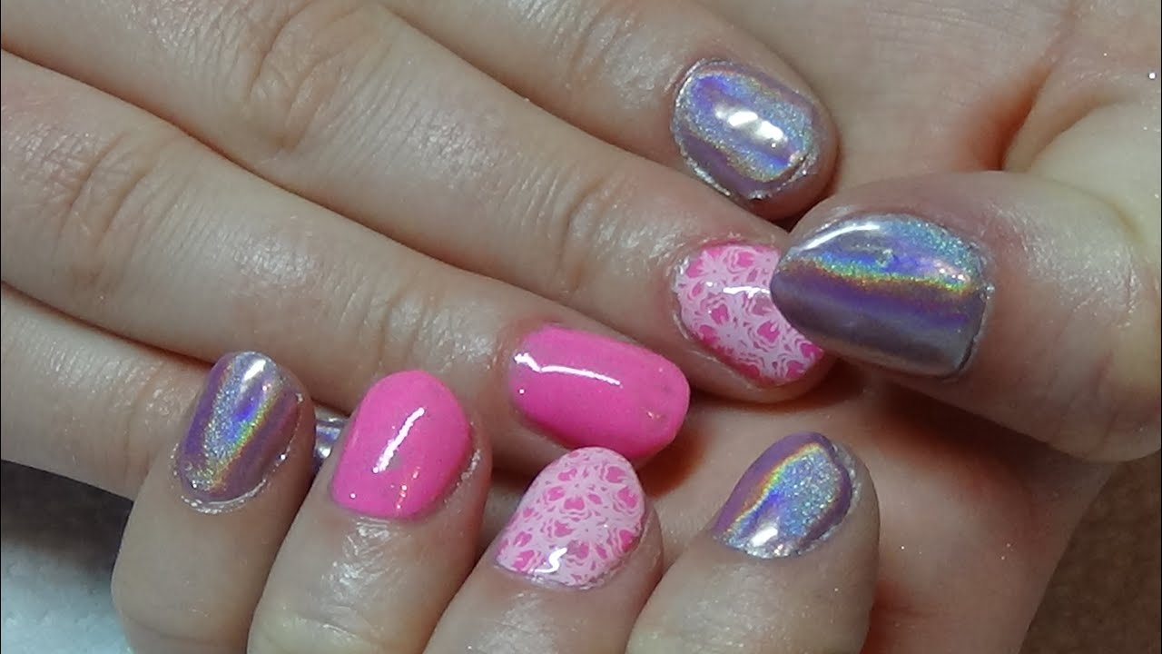 Bright Pink Holographic Gel Nails On Natural