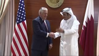 Secretary Tillerson camera spray with Qatari Foreign Minister Al Thani