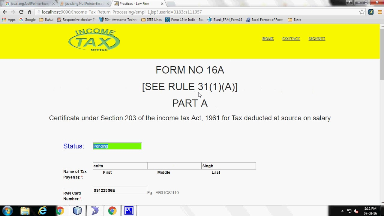 Income Tax Return Processing Java Project - YouTube