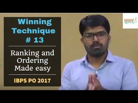 Winning Technique #13 | Solve Ranking and Ordering questions in easiest way for IBPS PO 2017