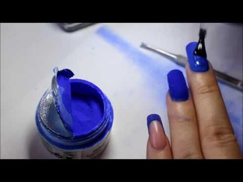 Nail Art Acrylic Blue Nails !!! Model cu praf acrylic ! unghii de acryl
