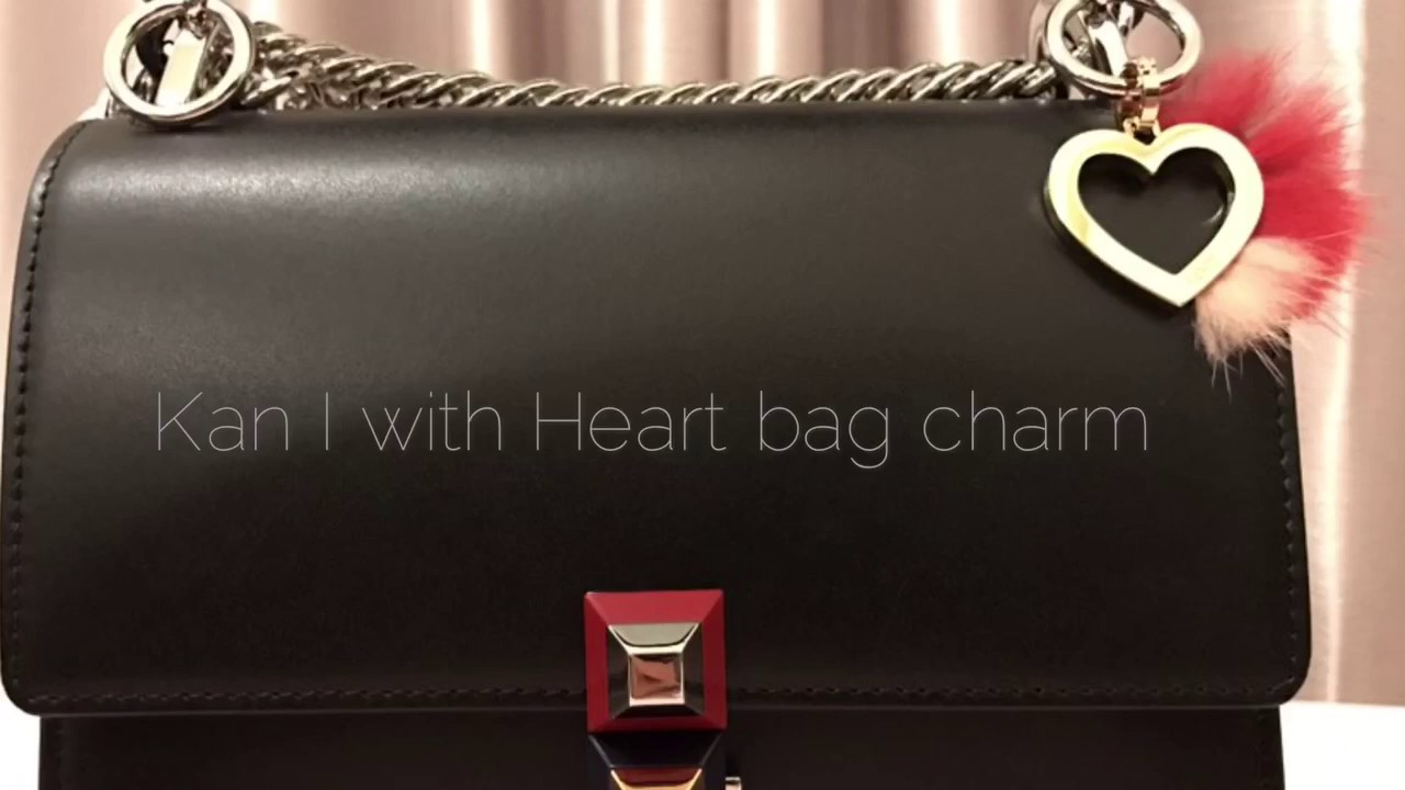fendi kan i small heart bag charm with fur