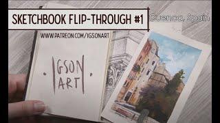 Watercolor & gouache sketchbook tour / flip through #1 - by IgsonArt - Iga Oliwiak