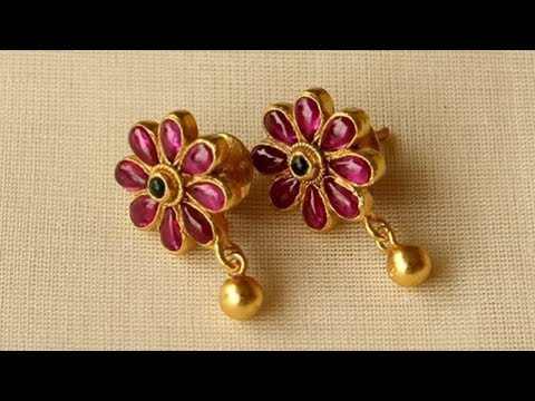 Light Weight Gold And Ruby Earrings Designs 2018