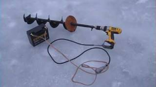 Repeat youtube video Ice Auger with Huge SLA Battery for Cordless Drill