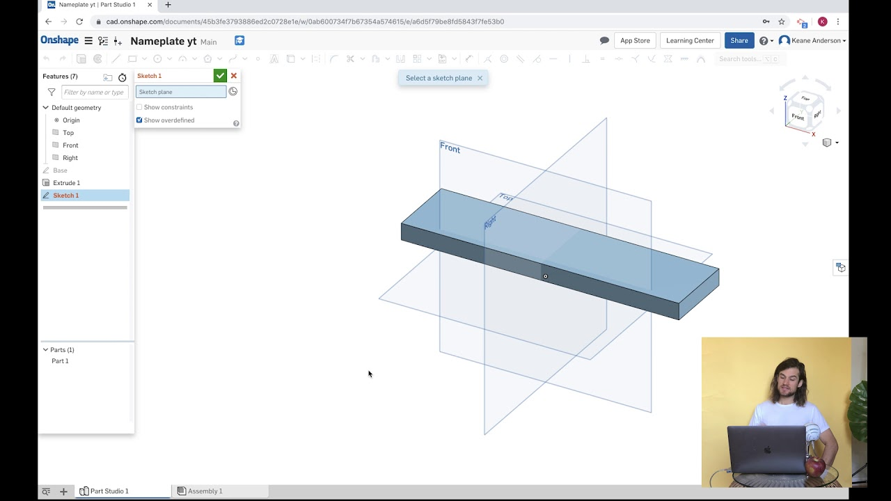 Onshape Free 3d Modeling Software Make A Nameplate And Download An Stl For 3d Printing Youtube