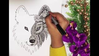 How to draw Wolf : Mandala