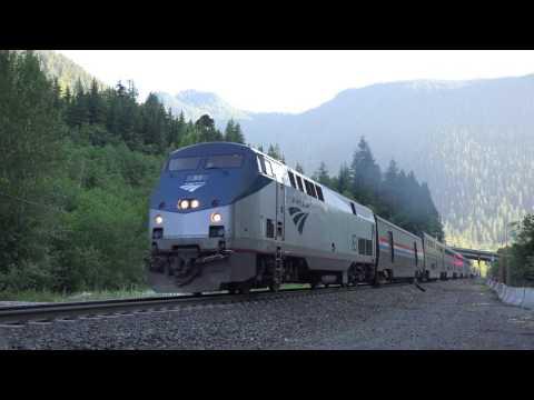 4K Chasing Amtrak Empire Builder #8 on Stevens Pass