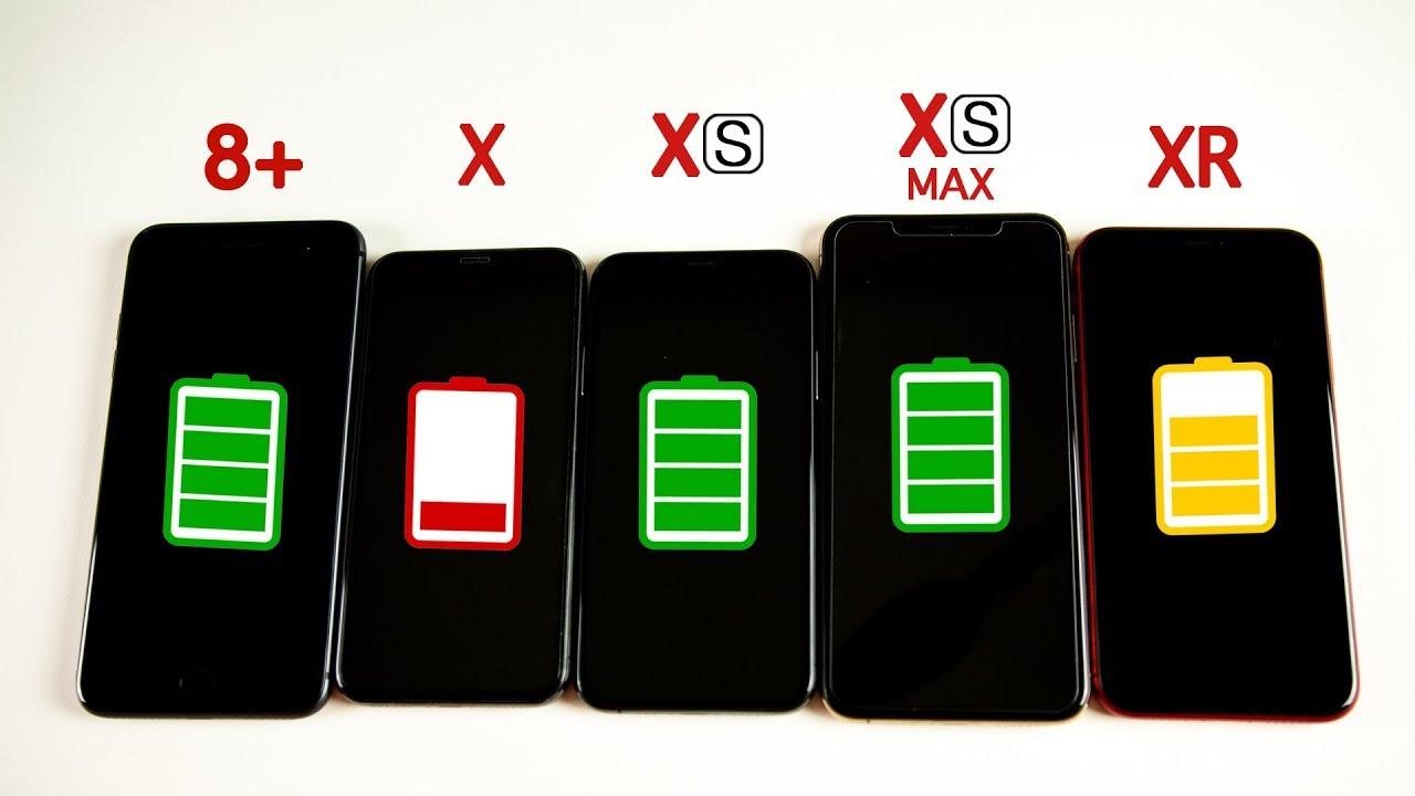 iPhone XR vs iPhone XS vs XS Max vs iPhone X vs iPhone 8 Plus Battery Life DRAIN TEST