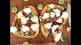 Pizza Recipe: Brussels Sprout and Pancetta Naan Pizza by Everyday Gourmet with Blakely