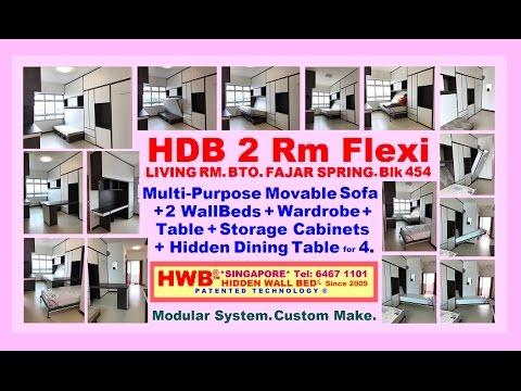 HDB 2 Rm Flexi.FajarSpring.BTO MovableSofa+HiddenDiningTable+ ...