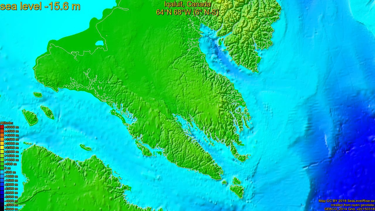 Iqaluit Canada Map.Iqaluit Canada Sea Level Rise 135 65 M Youtube
