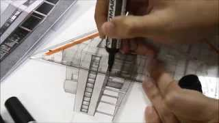 drawing Villa Savoye (by Le CORBUSIER) with two point perspective