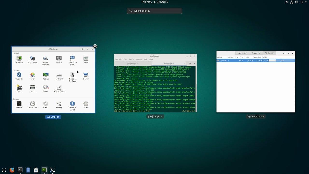 ubuntu 17.10 gnome