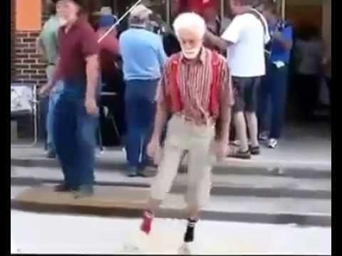 Funny Dancing! Elderly Men Doing The Shuffle In Public! Hilarious!