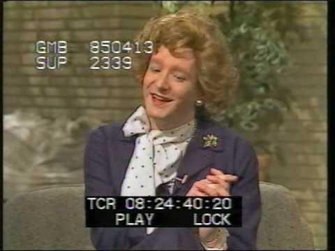 Steve Nallon, as Margaret Thatcher lookalike, visits TV-am -1985