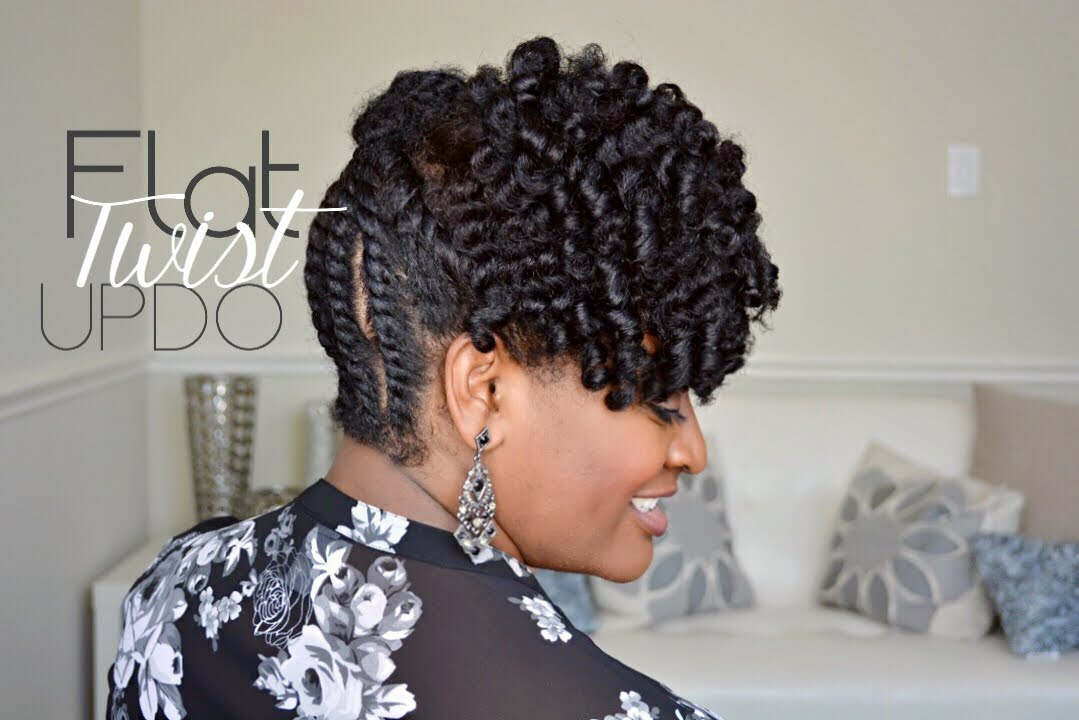 Braided Updo Styles For Natural Hair: Simple Flat Twist Updo On Natural Hair - YouTube
