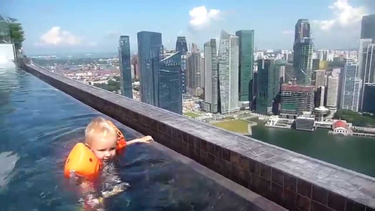 infinity pool singapore. Amazing View Over Singapore: Swimming At The Edge Of Marina Bay Sands Infinity Pool - YouTube Singapore L