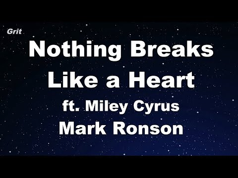 Nothing Breaks Like A Heart Ft. Miley Cyrus - Mark Ronson Karaoke 【No Guide Melody】 Instrumental