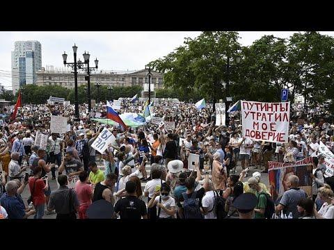 Continúan las protestas en Rusia tras la detención del gobernador regional Serguéi Furgal