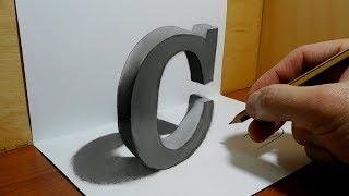 3D Trick Art on Paper, Letter C   Optical Illusion