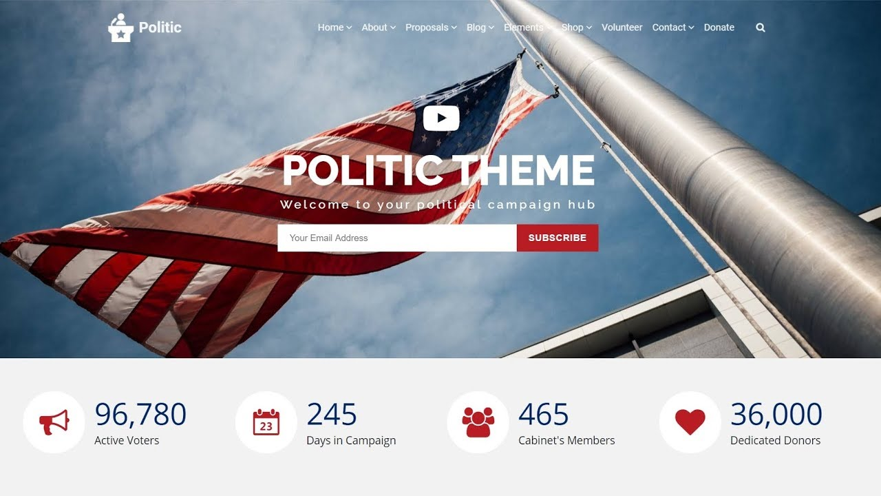 Politic WordPress Theme - Responsive Political Campaign Website Builder