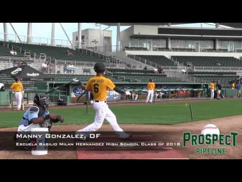 Manny Gonzalez prospect video, OF, Escuela Basilio Milan Hernandez High School Class of 2018