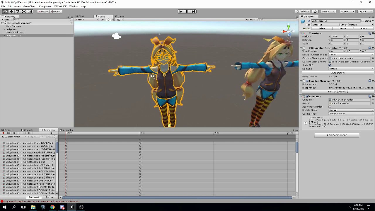 How to override emotes in VRChat with animations made in Unity