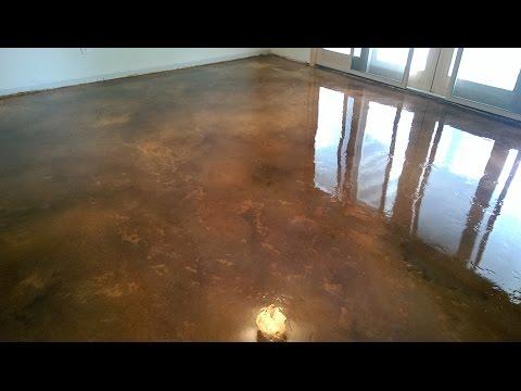 Acid Stain Concrete Basement Floor w/Epoxy Seal Coat | Lake of the Ozarks MO