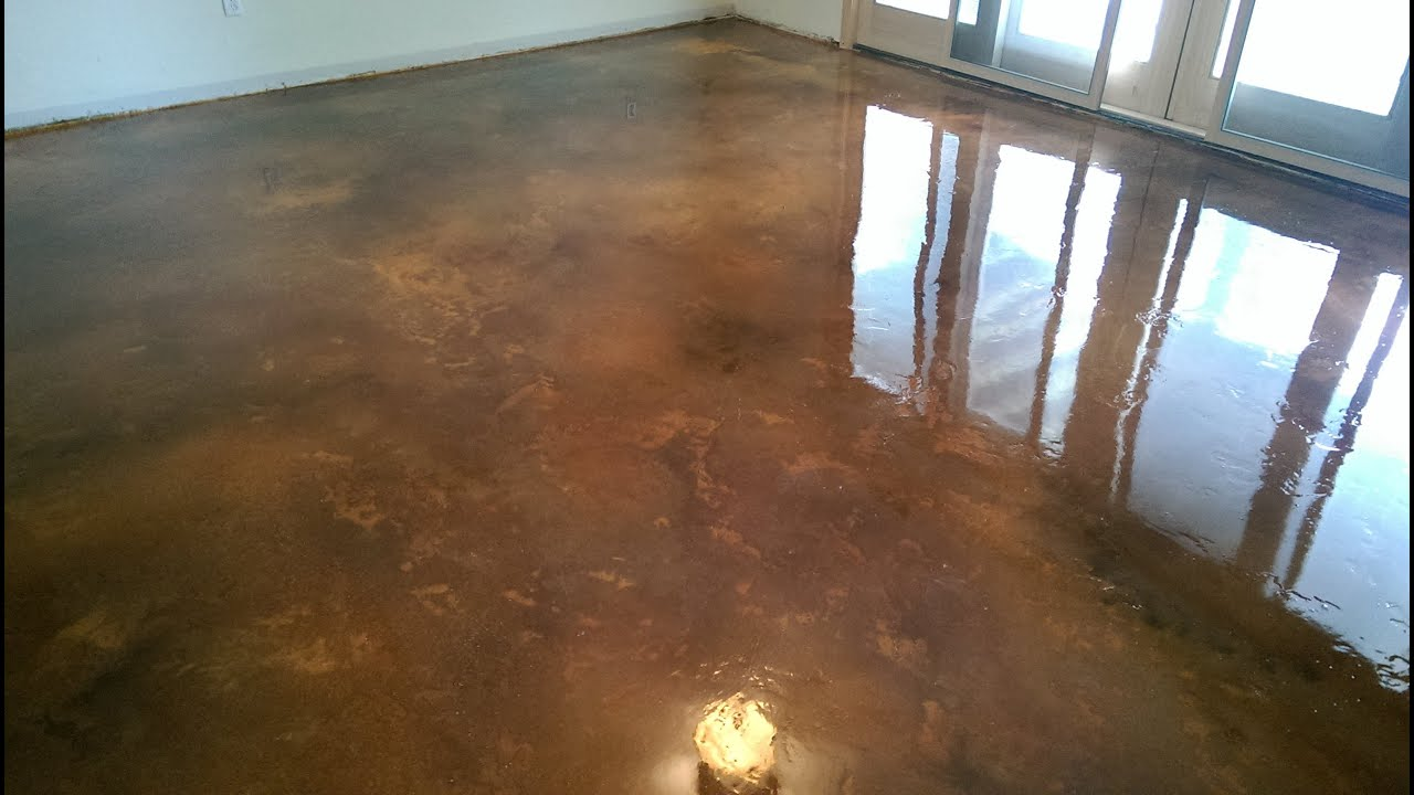 Acid Stain Concrete Basement Floor W/Epoxy Seal Coat | Lake Of The Ozarks  MO   YouTube