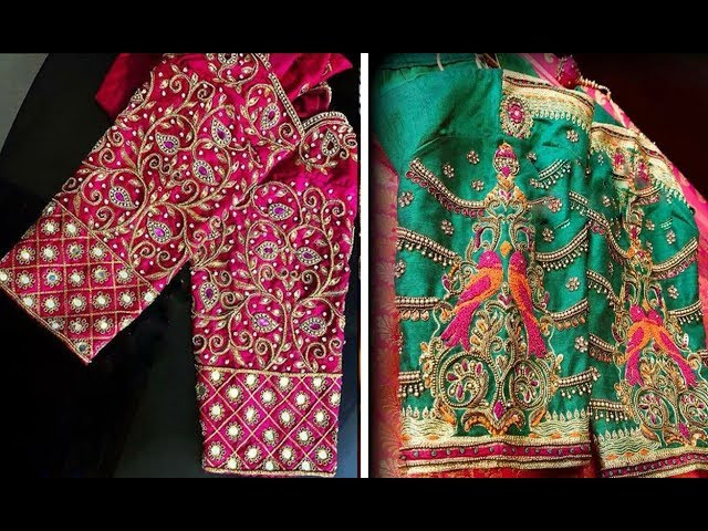 Latest Embroidery Work Blouse Design For Silk Saree 2018   Maggam Work   Party Wear Blouse Designs