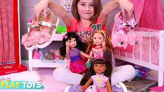 Cute Little Girl Playing American Girl Dolls Wellie Wishers Kids Magical Shoes by PlayToys!PlayToys
