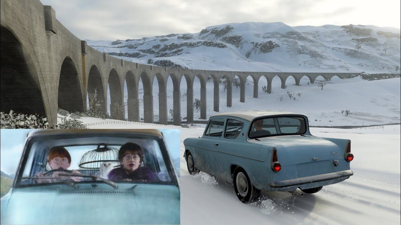 Harry Potter Visits Hogwarts In Ron S Modified Ford Anglia Forza Horizon 4 Youtube