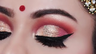 ऐसे करें दुल्हन मेकअप INDIAN BRIDAL Makeup Tutorial In Hindi| Full Cut Crease Look Red Lips