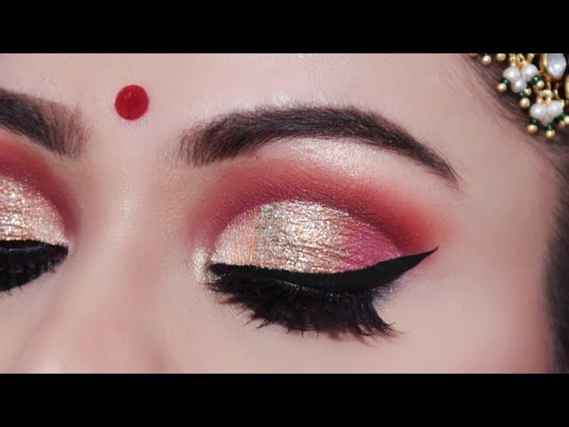 ऐसे करें दुल्हन मेकअप INDIAN BRIDAL Makeup Tutorial In Hindi| Full Cut Crease Look Red Lips