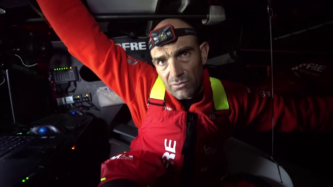 """Blair talks about just going around East Cape. A pretty tough 24 hours. Crash-cam footage of their close cross when they almost collided with Scallywag. Xabi, below, explains what happened: MAPFRE was on port, at first thought they were crossing, but then decided to bear away, and Scallywag was already bearing away. So they got everyone on deck and did two penalty turns. Blair: """"Lost quite a lot on that."""" Then we see more crash cam footage, as they almost lose a sail on the stack where the front of the sail went into the water. To lose that sail would have been a big deal, Blair explains. Then Joan did a great job on routing and they retook the lead. Now heading south in a nice position. Favoriting for the great crash-cam footage."""
