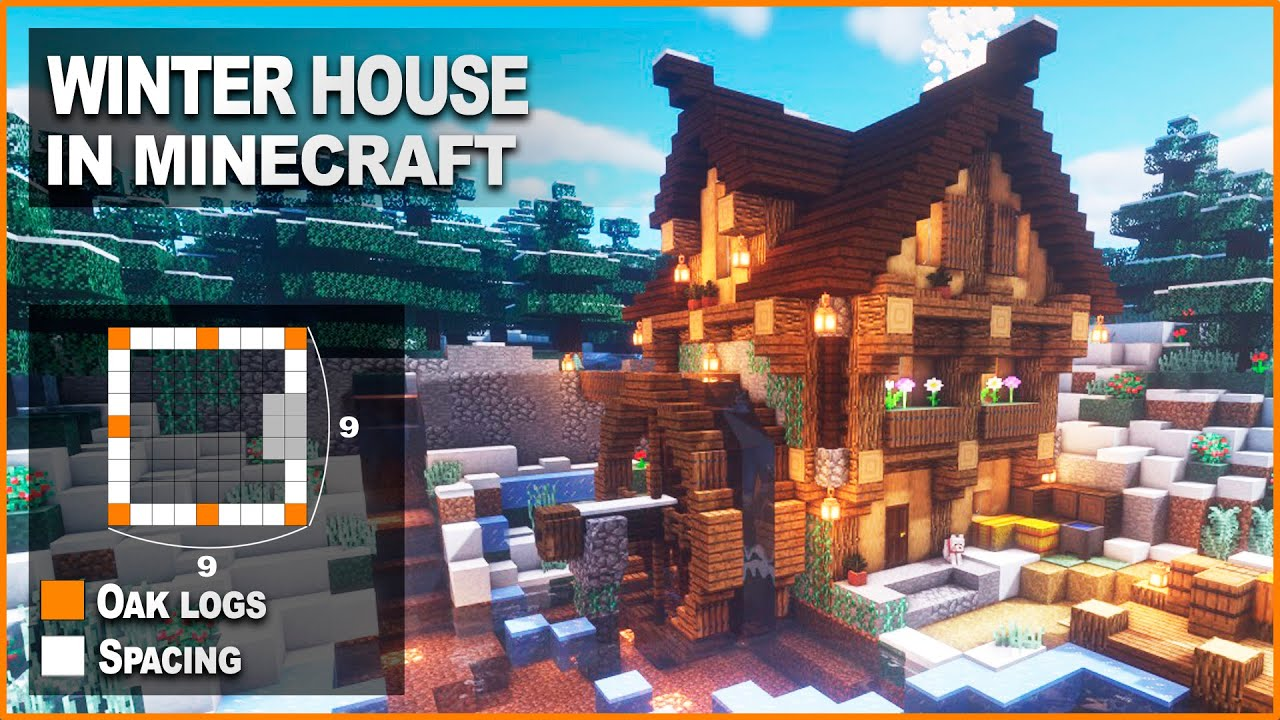 Minecraft: How to build a Winter House  Easy Tutorial