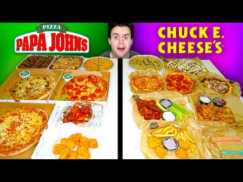CHUCK E. CHEESE Vs. PAPA JOHN'S - Pizza Restaurant Taste Test!