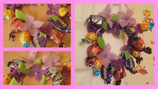 Сердце из конфет // поделка на День Рождения