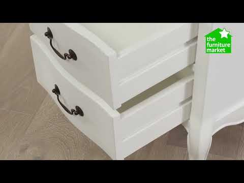 French Chateau White Painted 2 Drawer Bedside Table