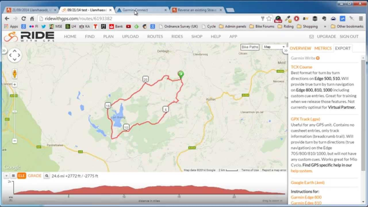 How to reverse a GPX route from Strava (using RidewithGPS ...