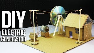 How to Make Electric Generator  (power up cardboard house)