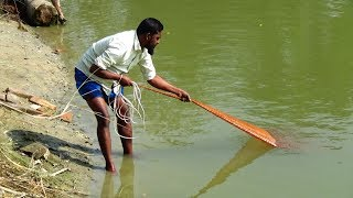 Net Fishing   Catching Fish With Cast Net   Net Fishing in the village (Part-207)
