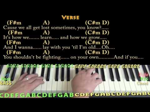 Cold Water (Major Lazer) Piano Cover Lesson in A with Chords/Lyrics