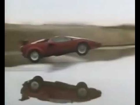 Lamborgnini Countach Skips Across Water   YouTube