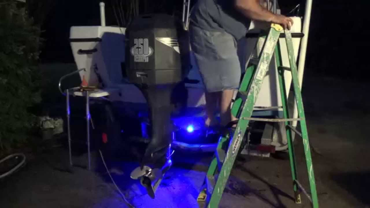 howto install drain plug underwater led lights on your boat transom rh youtube com Pool Lights Underwater Boat Underwater LED Fishing Lights