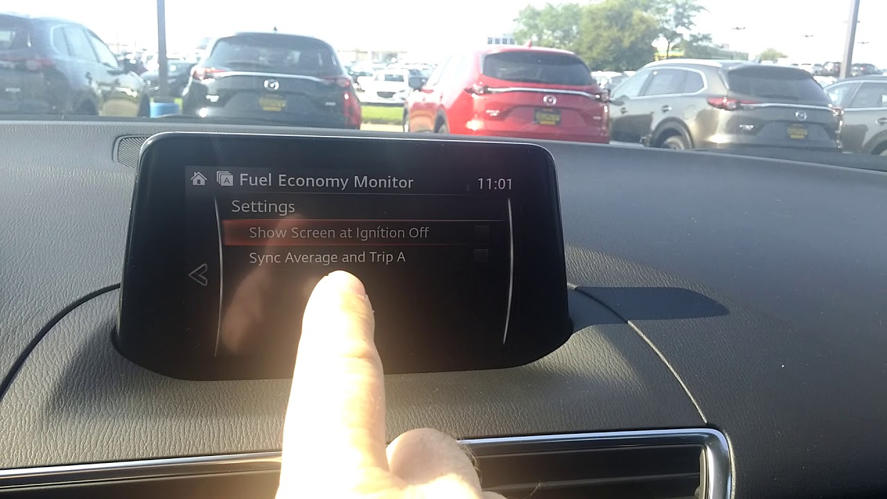 how to sync gas mileage monitor with trip a in a 2018 mazda 3 youtube