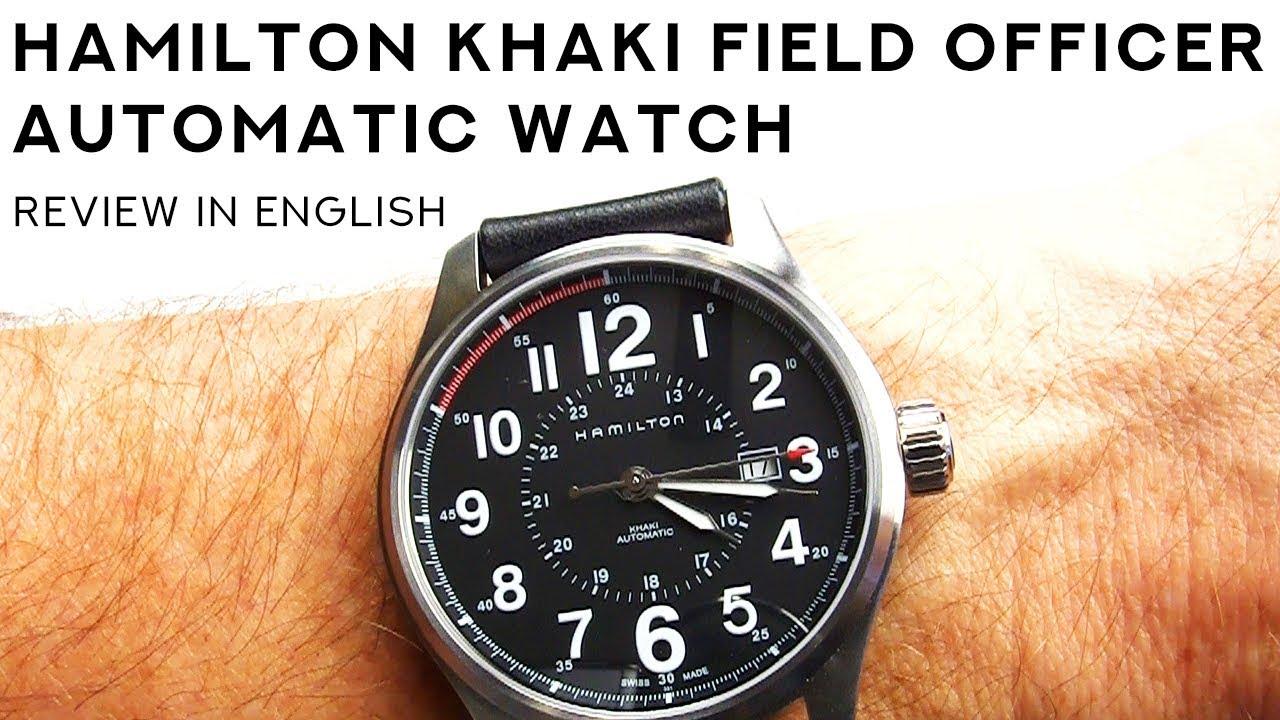 b69707e01 Hamilton Khaki Field Officer Automatic 44mm w/ Massive Black Leather  Riveted Strap Review H70615733