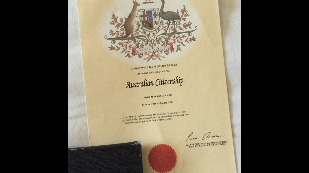Thon Makers Australian Citizenship Certificate Issued Feb 26 2007